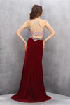 2 Pieces Burgundy Long Mermaid Beading Sparkly Charming Prom Dresses Z0609