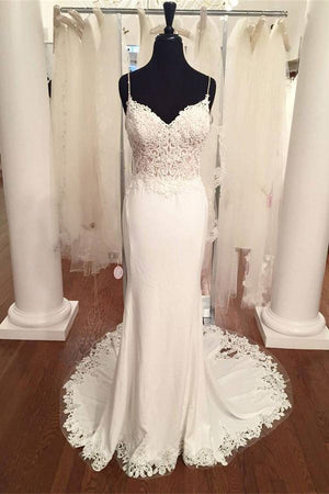 Spaghetti Straps White Long Mermaid Open Back Lace Wedding Dresses Z0613