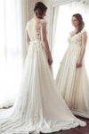 Charming Long Ivory Lace Chiffon V-neck Elegant Beach Wedding Dresses Z0616