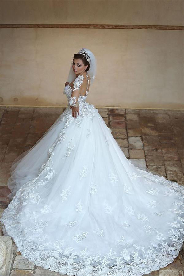 Gorgeous Long White Ball Gown Lace Tulle Long Sleeves Wedding Dresses Z0619