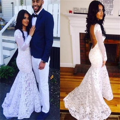 Elegant Beautiful Long Sleeves White Lace Mermaid Backless Prom Dresses Z0624