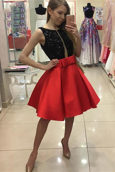 Red And Black Short Beading Satin A-line Cute Homecoming Dresses Z0625