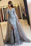 Charming Gorgeous Long Mermaid Gray Lace Off The Shoulder Prom Dresses With Sleeves Z0628