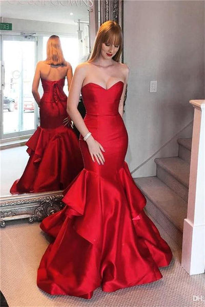 Pretty Lace Up Sweetheart Long Mermaid Red Prom Dresses Evening Dresses Z0632