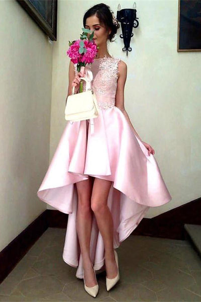 Short Front Long Back Pink Simple Lace Beautiful Elegant Prom Dresses Z0633