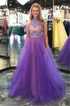 2 Pieces Purple Long Beading Tulle Open Back A-line Prom Dresses For Teens Z0636