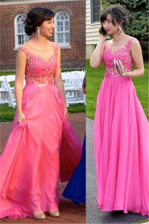 Beautiful Floor Length Long Lace Tulle Simple Elegant Pink Prom Dresses Z0637