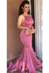 Lovely Long Mermaid Pink Open Back Beauty Sleeveless Prom Dresses Z0643
