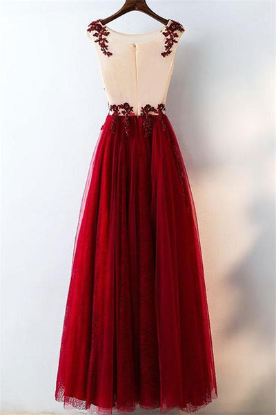 Sparkly Modest Long A-line Lace Tulle Burgundy Long Elegant Prom Dresses Z0644