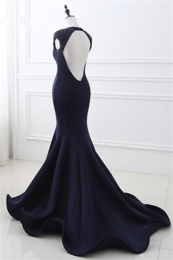Mermaid Open Back Navy Blue Long Beading V-neck Prom Dresses Z0647