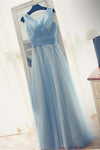 Charming Light Blue Long A-line Elegant Simple Flowy Prom Dresses Z0656