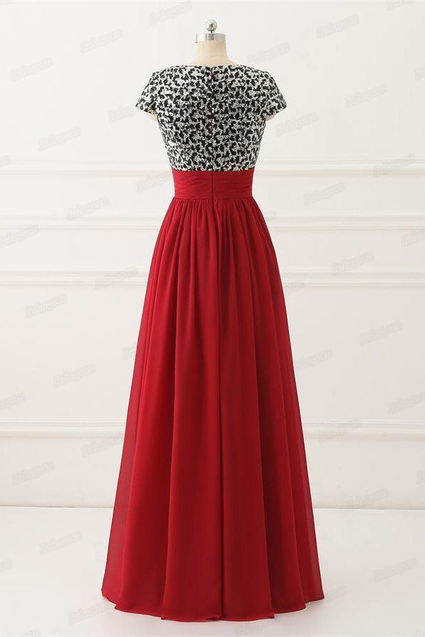 Red Chiffon Short Sleeves Long A-line V-neck Modest Prom Dresses Z0658
