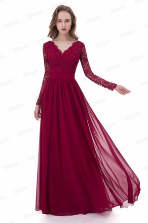 Beautiful Charming Long Burgundy Lace Chiffon Long Sleeves Prom Dresses Z0661