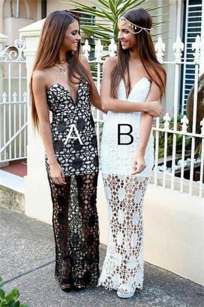 Elegant Lace Up Strapless Long Black And White Lace Prom Dresses For Teens Z0669