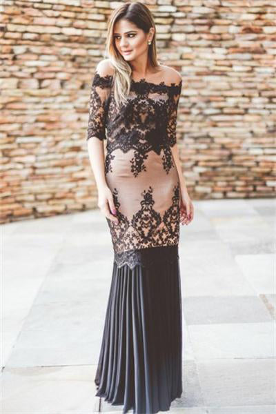 Formal Half Sleeves Black And Pink Long Lace Sheath Simple Prom Dresses Z0672