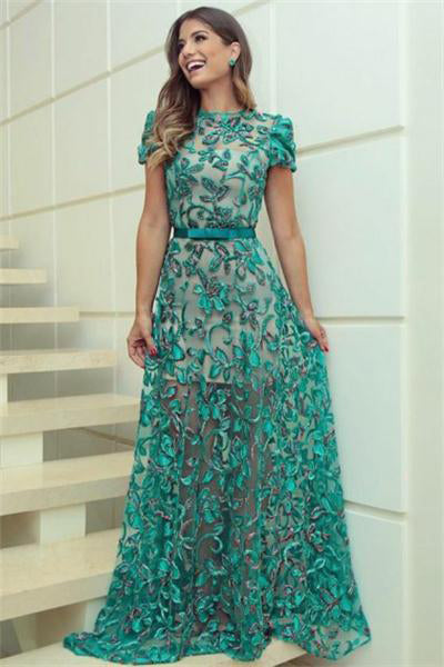 Short Sleeves Long A-line Simple Cheap Prom Dresses Women Dresses Z0676