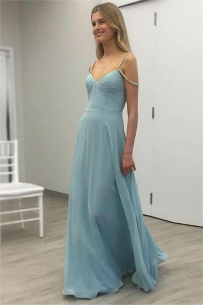 Pretty Flowy Long A-line Blue Chiffon Beading Open Back Prom Dresses Z0677