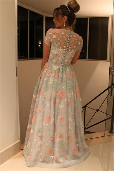 Short Sleeves Long A-line Beautiful Simple Elegant Flower Prom Dresses Z0678