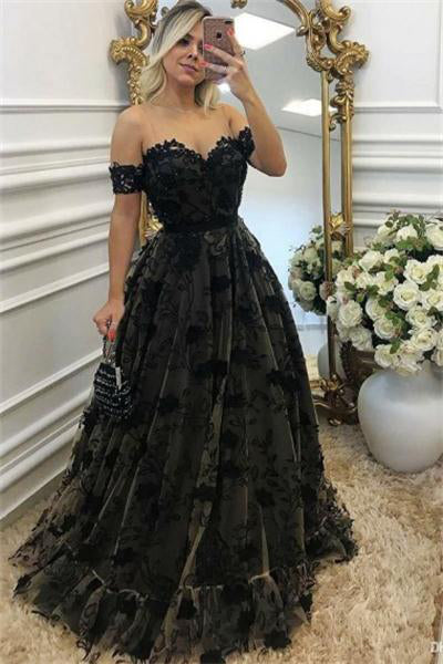 Modest Long Off The Shoulder Lace Up Black Women Dresses Prom Dresses Z0682