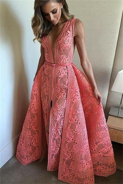 Formal Deep V-neck Long A-line Open Back Simple Oink Lace Prom Dresses Z0692
