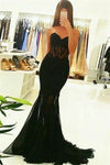 Mermaid Black Sweetheart Lace Tulle Long Sheath Evening  Prom Dresses Z0693