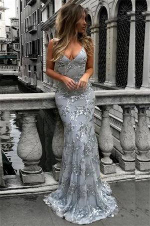 Beautiful Long Open Back Sparkly V-neck Lace Up Sheath Prom Dresses Z0694