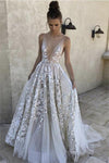 Lovely Long Deep V-neck Lace Tulle Spaghetti Straps Princess Prom Dresses Z0696