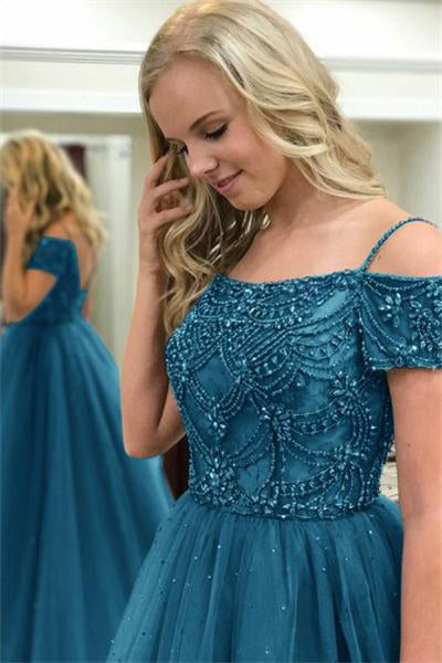 Off The Shoulder Long Open Back Beading Tulle Princess Prom Dresses Z0700