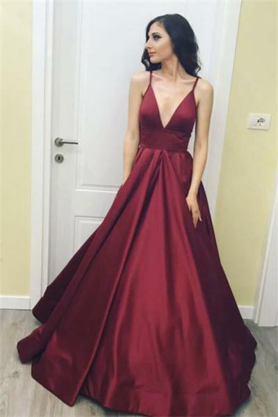 Spaghetti Straps Long Deep V-neck Simple Satin Prom Dresses With Pockets Z0701