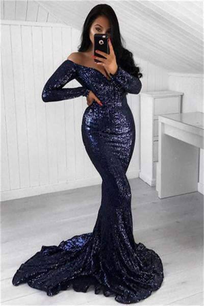 Sparkly Long Mermaid Off The Shoulder Sexy Prom Dresses With Sleeves Z0705