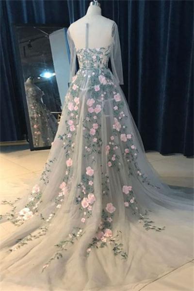 Beautiful Elegant Long Sleeves Simple Appliques Zipper Back Prom Dresses Z0709