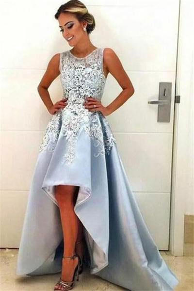 Sky Blue Short Front Long Back Lace Simple Elegant Party Prom Dresses Z0712