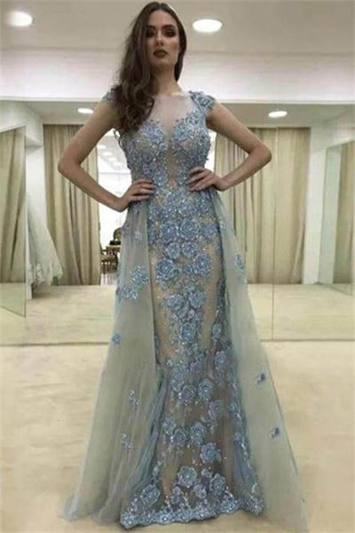 Pretty Long Lace Tulle Cap Sleeves Elegant Zipper Back Prom Dresses Z0713