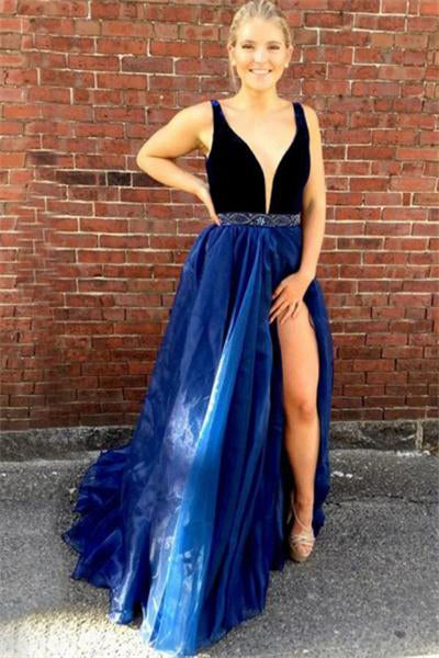 Black And Royal Blue Long V-neck Open Back Beading Party Prom Dresses Z0717