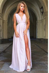 Elegant Simple A-line Pink Chiffon V-neck Long Front Split Prom Dresses Z0719