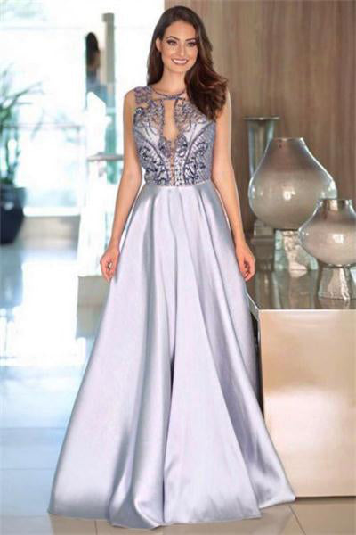 Modest Long A-line Beading Satin Sleeveless Elegant Prom Dresses Party Dresses Z0720