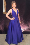 Open Back Deep V-neck A-line Long Simple Cheap Blue Prom Dresses Z0722