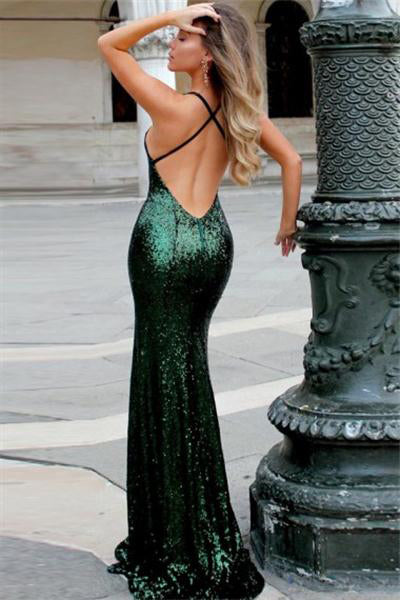 Beautiful Elegant Backless Ling Green Sequin Shiny Sheath Prom Dresses Z0723