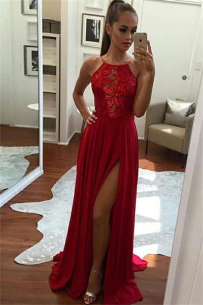 wholesale outlet beauty good quality Red Flowy Long Lace Front Split Zipper Back Simple Beauty Prom ...