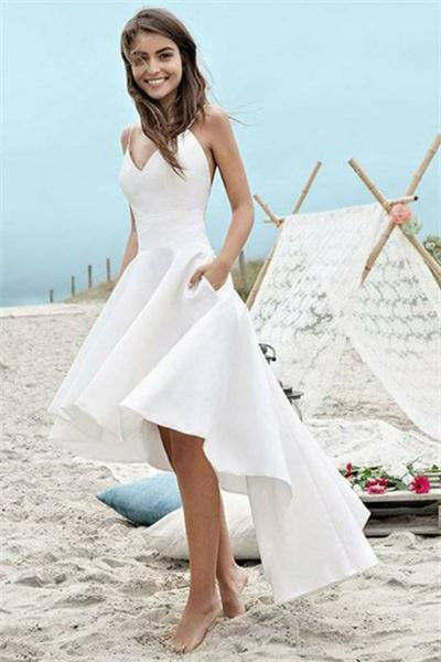 Spaghetti Straps White Short Front Long Back Simple Elegant Prom Dresses Z0735