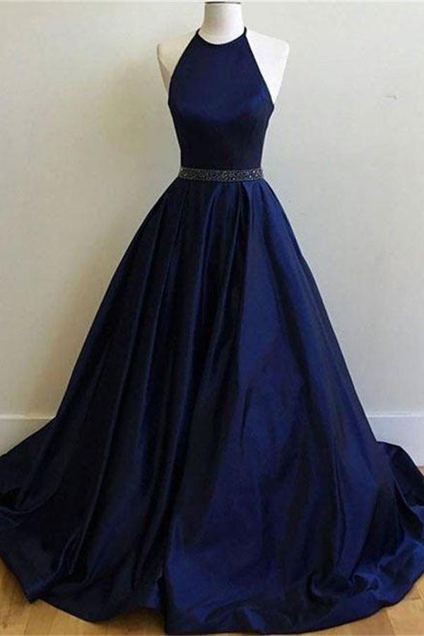 Simple Halter Long Open Back A-line Royal Blue Elegant Prom Dresses Party Dresses Z0740