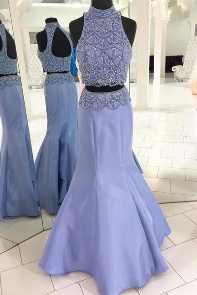 Mermaid Floor Length Long 2 Pieces Beading High Neckline Prom Dresses Z0741