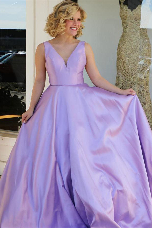 Simple Cheap Sleeveless Long Violet Satin A-line V-neck Prom Dresses Z0745