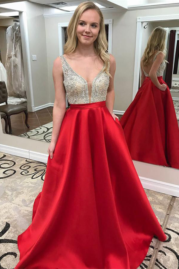 Sparkly Beading Red Long V-neck Open Back A-line Graduation Dresses Prom Dresses Z0751