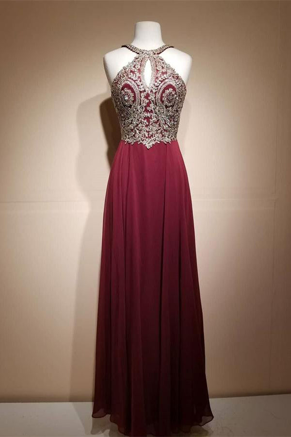 dc89f33b55a Pretty Elegant Long Lace Chiffon A-line Burgundy Simple Cheap Prom Dresses  Z0752