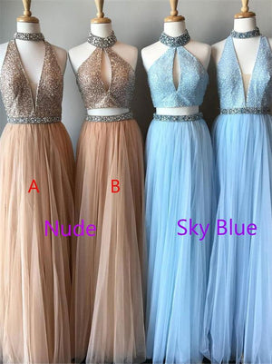 Sparkly Long Flowy Beaded Tulle Sleeves A-line Graduation Dresses Prom Dresses Z0753