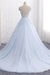 Charming Light Blue Long Ball Gown Lace Tulle V-neck Princess Prom Dresses Z0754