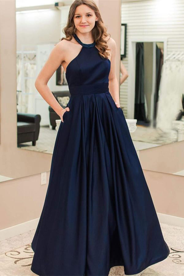Elegant Simple A-line Navy Blue Satin Long Elegant Prom Dresses With Pockets Z0755