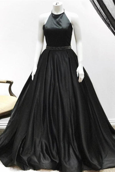Halter Long Black A-line Open Back Elegant Beading Evening Dresses Prom Dresses Z0757