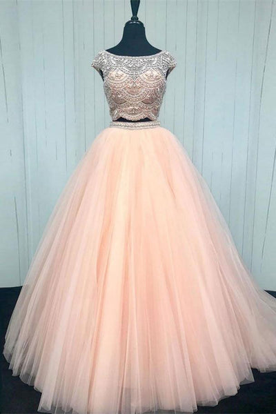 Formal Long Ball Gown Beading Tulle 2 Pieces Pink Princess Prom ...
